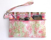 Pink Floral Wristlet, Green Plaid Clutch, Pastel Pink Green White Camera or Phone Holder, Makeup or Gadget Bag, Wallet, Small Zippered Purse
