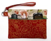 Rust Floral Wristlet, Gold Green Clutch, Cinnamon Small Purse, Front Zippered Wallet, Camera Phone or Gadget Bag, Rust Zippered Makeup Case