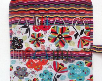 Bright Floral Circular Knitting Needle Holder, Crochet Hook Storage Organizer, Double Pointed Needle Case, Artist and Makeup Brushes Roll