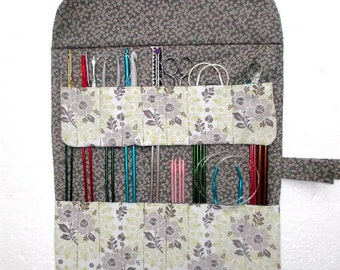Sage Green, Grey Knitting Needle Roll, Storage Holder for Crochet Hooks and Double Pointed Needles DPN, Artist or Makeup Brushes Organizer