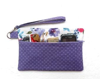 Lavender Wristlet Bag, Floral Zipper Phone Clutch, Ladies Purple Wallet, Makeup or Camera Pouch, Gadget Bag, Front Zipper Purse