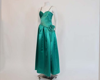 80s dress / Vintage 1980's Rhinestone Emerald Green Rose Taft Dress