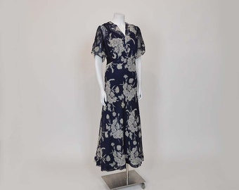 30s dress / Bohemian Rhapsody Vintage 1930's Silk Lace Floral Dress