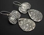 Silver hand textured lightweight dangle earrings by Suzyn