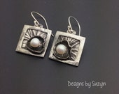 Artisan handmade square silver and pearl earrings, sterling silver, fine silver, recycled silver dangles, small earrings, oxidized
