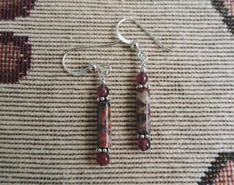 Leopard Jasper, Garnets n Sterling Silver Beads Earrings