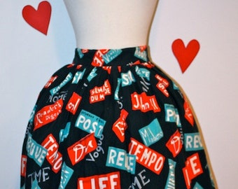 Resrerved- 50s Magazine Love Print Skirt - Cotton Kitsch Novelty