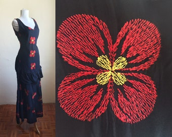 1930s Senorita Ruffle dress - red poppy embroidered gown