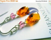8 YR ANNIV 20% OFF, Mandarin Garnet Colored Quartz Earrings, Mini Sunshine on a Cloudy Day Chandeliers, gemstone earrings