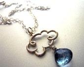 Necklace Sale 15% OFF, Cloud Necklace, Rain Necklace, Raindrop Necklace, Gemstone Necklace, Rain Cloud Charm Necklace with Blue Mystic Quart