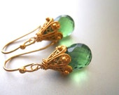 Cool Olive Empire Earrings, light olive crystal earrings, sterling or gold vermeil, leverback option