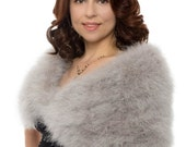 Promo Sale Silver Grey Marabou Wrap with Detachable Scarves (4 colors available)