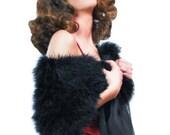Promo Sale Black Marabou Wrap (with detachable scarves)