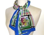 Vintage Silk Scarf - Bright Illustrated Floral Design - Blue Border - Top Hit Fashion Baar & Beards