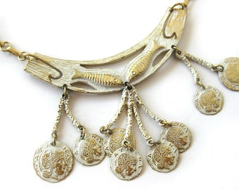 Vintage Egyptian or Greek Revival Pendant with Coin Drops / Signed Coro / Cleopatra / Athena