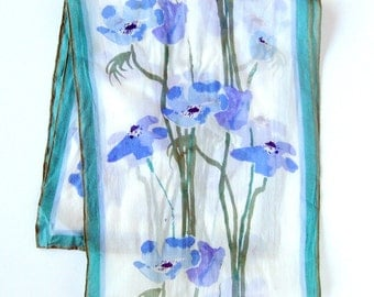 1960s Vintage VERA Neumann Floral Scarf Ladybug Logo in Blues Aqua and Violet / Long Sheer Scarf