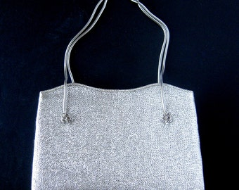 Vintage After Five Silver Lame Evening Bag / Matching Coin Purse / Snake Chain Handles / Decorative Floral Metal Accents