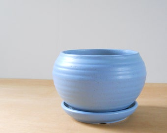 Vintage Blue Pottery Flower Pot • Large Matte Blue Finish Flowerpot