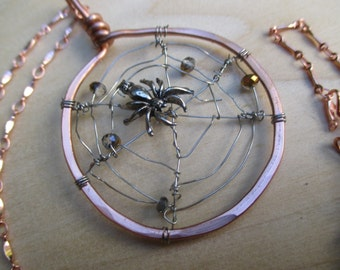 Spider Web Pendant, Spider Web Necklace, Pewter Spider Necklace, Swarovski Crystal Spider Web, Halloween Necklace, Halloween Jewelry, Goth