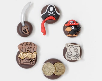 Pirate Magnets. Parrot, Pirate Hat, Sword, Treasure Chest, Gold Coins, Map in Brown Polymer Clay. For Home Office, Kitchen, Kids Room School