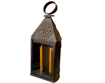 Early 1800s Punched Tin Candle Lantern   Antique Historic Lighting   Authentic Museum Quality Lamp