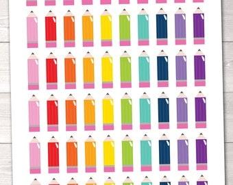 Pencils Printable Planner Stickers Instant Download School Planner Sticker PDF for Teachers Students
