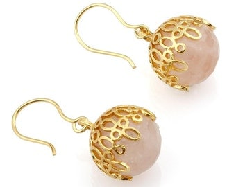 Pink Quartz Ball Earrings - Lacy Balls Earrings made with sterling silver coated in 18K gold, pink drops, dangling drops, small lace drops