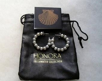 SALE Lovely Honora Sterling Cultured Freshwater Pearl Hoop Style Earrings
