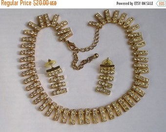 SALE REDUCED Sparkling Rhinestone encrusted Necklace and Earrings Demi Set Beautiful