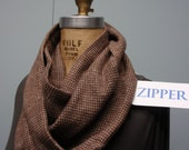 Secret Agent Scarf Infinity Design with Zipper Pocket Paid Flannel Brown Beige Check
