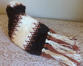 Handknit Scarf, Traditional, Autumn Hues, Cream, Burnt Umber, Brown, Persimmon, Burnt Orange, Diamonds and Stripes, Machine Wash and Dry,