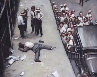 Wall Street, Original Painting, Suicide, Money, Stock Market Crash, History, Macabre Art, Dark Art, 1920s, Death, New York, Banks, Greed