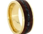 14k Yellow Gold Wedding Band, Amboyna Wood Ring With Crushed Black Akoya Pearl, Unique Pearl Ring