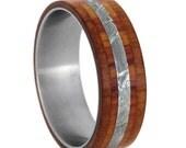 Wood Wedding Band, Meteorite Ring With Cedar And Tulip Wood Inlays, Titanium Wedding Band