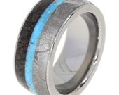 Gibeon Meteorite and Dinosaur Bone Wedding Band with Turquoise Center, set in Titanium Ring