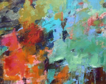 "MODERN ABSTRACT PAINTING ""Viva"" Acrylic on 40""H x 48""W gallery wrap canvas Original Art by Elizabeth Chapman"