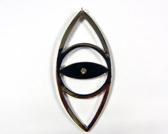 Large Oversized Vertical Cut-out Eye Pendant with Rhinestone Silver-tone