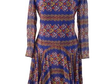Beautiful Layered 1920's Chiffon Dress with an Incredible Print in Wonderful Colors.