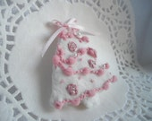 Pink and white Christmas tree brooch or ornament silk ribbon embroidered handmade by handcraftusa