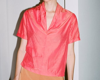 Silk/Cotton Blouse Coral ((on SALE))