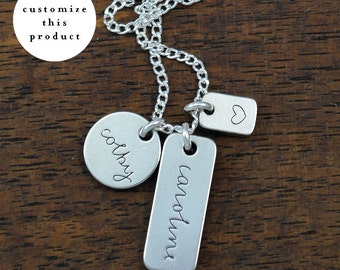 custom names + heart necklace