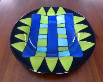 Black Fused Glass Bowl with Blue and Green Decor