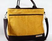 Sale - Golden Yellow Water-Resistant bag - Shoulder bag, Messenger bag, Tote, Travel bag, Diaper bag, Crossbody, Women - CINDY