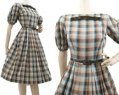 Vintage 50s 60s Dress Shadow Plaid Cotton Day Full Skirt Rockabilly Western S