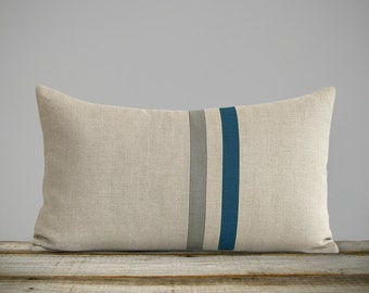 Lake & Stone Gray Striped Linen Lumbar Pillow Cover (12x20) Fall Home Decor by JillianReneDecor - Autumn - FW2015