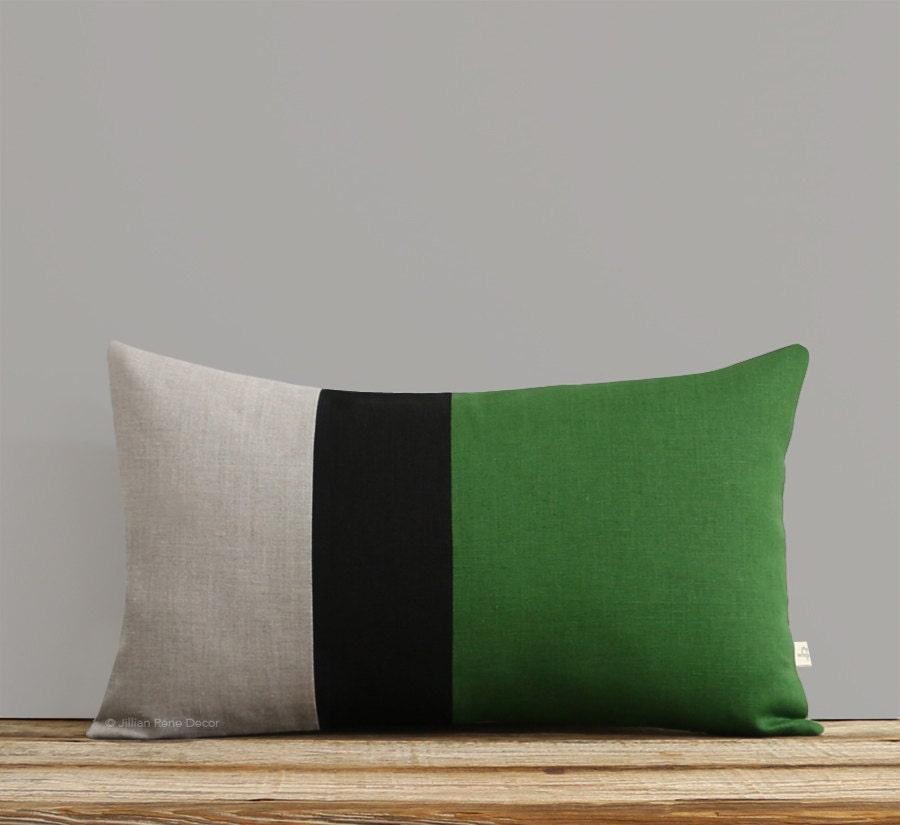 Lumbar Pillow In Meadow Green Black And Natural Linen