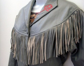 Vintage Gray Leather Jacket / Grey Fringe - Red Collar Trim / 1980s Cropped Jacket, Western Boho Jacket / Ladies Size Med / CLEARANCE