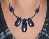 Lapis lazuli necklace, gift for women, lapis bib necklace, contomporary boho chic necklace, funky jewelry