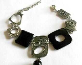 Black bracelet, silver link bracelet, gift, onyx asymmetric bracelet, Funky  jewelry