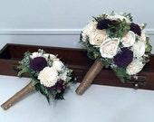 Burgundy/Eggplant Wedding Bouquet - sola flowers - choose colors - bridal bouquet - balsa wood - Alternative bouquet - bridesmaids bouquet
